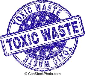 Scratched Textured TOXIC WASTE Stamp Seal