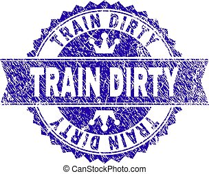Scratched Textured TRAIN DIRTY Stamp Seal with Ribbon