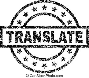 Scratched Textured TRANSLATE Stamp Seal - TRANSLATE stamp...