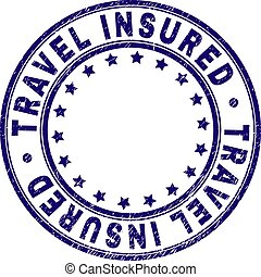 Scratched Textured TRAVEL INSURED Round Stamp Seal