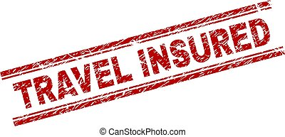Scratched Textured TRAVEL INSURED Stamp Seal