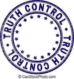 Scratched Textured TRUTH CONTROL Round Stamp Seal