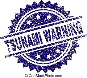 Scratched Textured TSUNAMI WARNING Stamp Seal