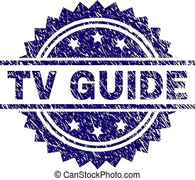 Scratched Textured TV GUIDE Stamp Seal