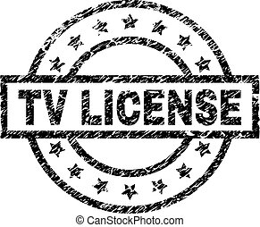Scratched Textured TV LICENSE Stamp Seal