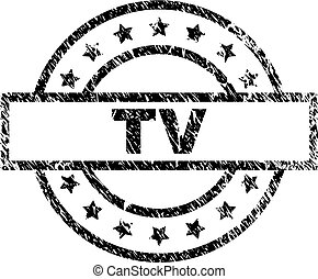 Scratched Textured TV Stamp Seal
