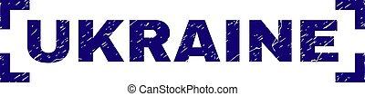 Scratched Textured UKRAINE Stamp Seal Between Corners -...