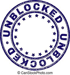 Scratched Textured UNBLOCKED Round Stamp Seal