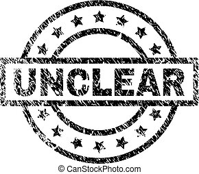 UNCLEAR stamp seal watermark with distress style. Designed with rectangle, circles and stars. Black vector rubber print of UNCLEAR caption with dust texture.