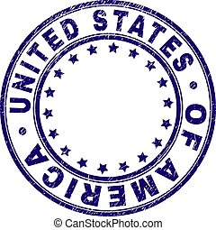 Scratched Textured UNITED STATES OF AMERICA Round Stamp Seal