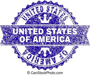 Scratched Textured UNITED STATES OF AMERICA Stamp Seal with Ribbon
