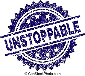 UNSTOPPABLE stamp seal watermark with distress style. Blue vector rubber print of UNSTOPPABLE label with dust texture.