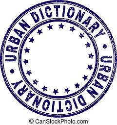 Scratched Textured URBAN DICTIONARY Round Stamp Seal - URBAN...