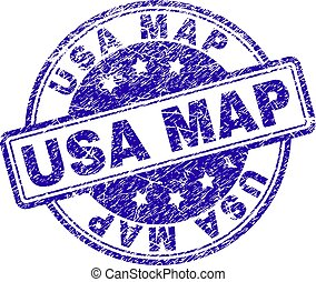Scratched Textured USA MAP Stamp Seal
