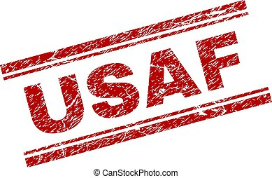 Scratched Textured USAF Stamp Seal - USAF seal print with...