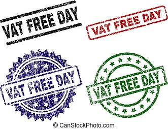 Scratched Textured VAT FREE DAY Stamp Seals