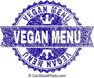 Scratched Textured VEGAN MENU Stamp Seal with Ribbon