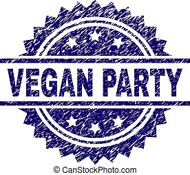 Scratched Textured VEGAN PARTY Stamp Seal