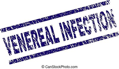 VENEREAL INFECTION seal print with distress style. Blue vector rubber print of VENEREAL INFECTION text with dust texture. Text title is placed between parallel lines.