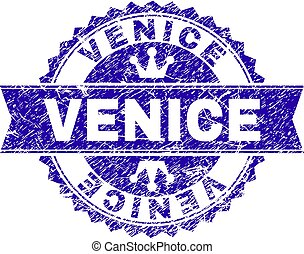 Scratched Textured VENICE Stamp Seal with Ribbon