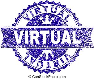 Scratched Textured VIRTUAL Stamp Seal with Ribbon