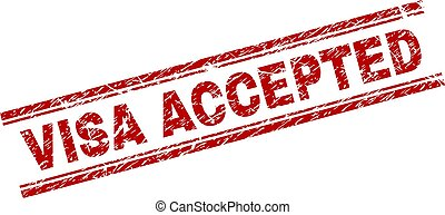 Scratched Textured VISA ACCEPTED Stamp Seal - VISA ACCEPTED...