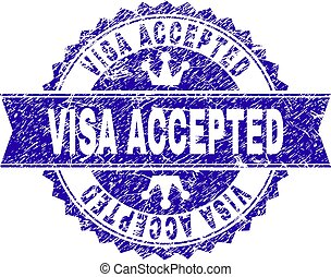 Scratched Textured VISA ACCEPTED Stamp Seal with Ribbon