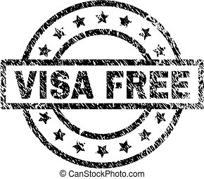 Scratched Textured VISA FREE Stamp Seal