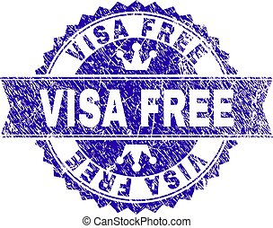 Scratched Textured VISA FREE Stamp Seal with Ribbon