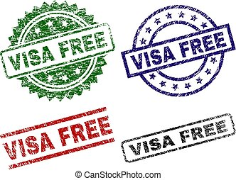 Scratched Textured VISA FREE Stamp Seals