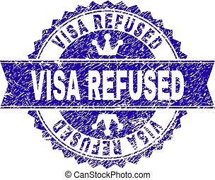 Scratched Textured VISA REFUSED Stamp Seal with Ribbon