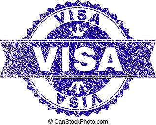 Scratched Textured VISA Stamp Seal with Ribbon