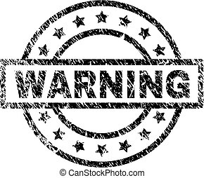 Scratched Textured WARNING Stamp Seal
