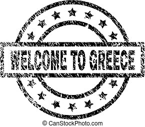 Scratched Textured WELCOME TO GREECE Stamp Seal