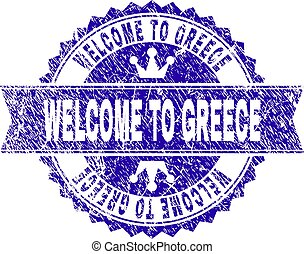 Scratched Textured WELCOME TO GREECE Stamp Seal with Ribbon
