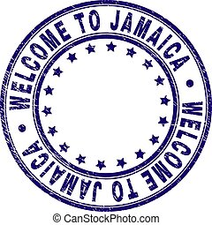 Scratched Textured WELCOME TO JAMAICA Round Stamp Seal