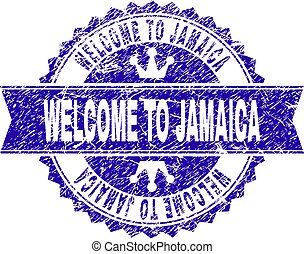 Scratched Textured WELCOME TO JAMAICA Stamp Seal with Ribbon