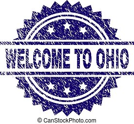 Scratched Textured WELCOME TO OHIO Stamp Seal