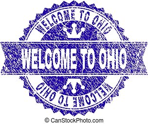 Scratched Textured WELCOME TO OHIO Stamp Seal with Ribbon