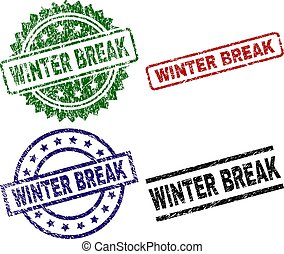 Scratched Textured WINTER BREAK Seal Stamps