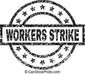 Scratched Textured WORKERS STRIKE Stamp Seal