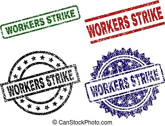 Scratched Textured WORKERS STRIKE Stamp Seals