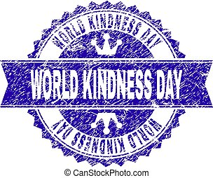Scratched Textured WORLD KINDNESS DAY Stamp Seal with Ribbon