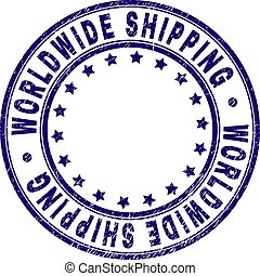 Scratched Textured WORLDWIDE SHIPPING Round Stamp Seal