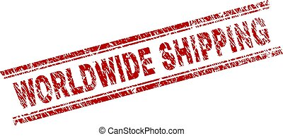 Scratched Textured WORLDWIDE SHIPPING Stamp Seal