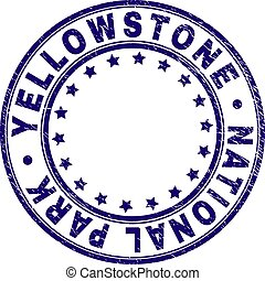 Scratched Textured YELLOWSTONE NATIONAL PARK Round Stamp...