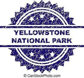 Scratched Textured YELLOWSTONE NATIONAL PARK Stamp Seal -...