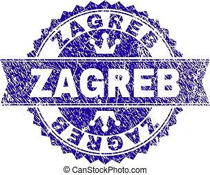 Scratched Textured ZAGREB Stamp Seal with Ribbon