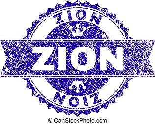 Scratched Textured ZION Stamp Seal with Ribbon