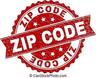 Scratched Textured ZIP CODE Stamp Seal